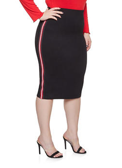 Plus Size Striped Tape Pencil Skirt - 3962051066546