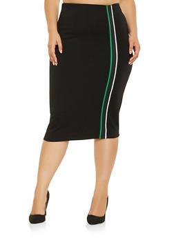 Plus Size Striped Tape Detail Pencil Skirt - 3962051066548