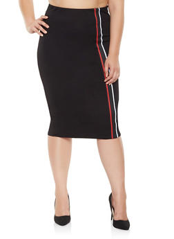 Plus Size Striped Tape Detail Pencil Skirt - 3962051066548