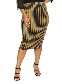 Plus Size Striped Pencil Skirt - 3962051066555