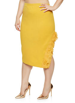 Plus Size Ruffle Trim Pencil Skirt - 3962062121007