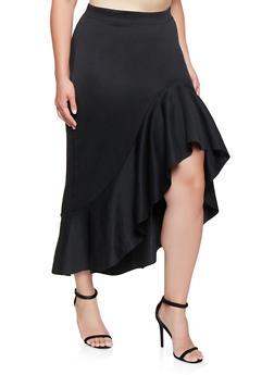 Plus Size Ruffled Asymmetrical Skirt - 3962062124597
