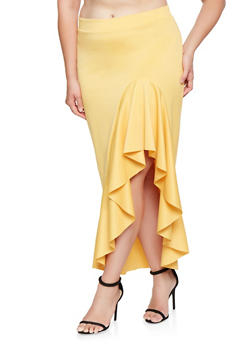 Plus Size Ruffled Asymmetrical Skirt - 3962062124597