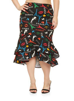 Plus Size Printed High Low Skirt - 3962062128277