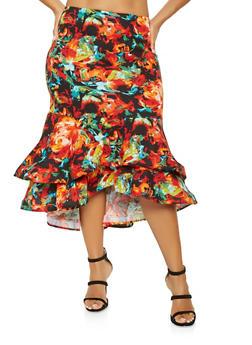 Plus Size Floral High Low Pencil Skirt - 3962062128278