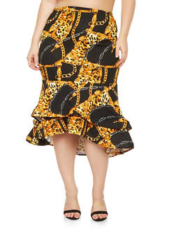 Plus Size Printed High Low Skirt - 3962062128280