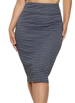 Plus Size Geometric Knit Pencil Skirt - 3962062706270
