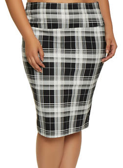 Plus Size Printed Pencil Skirt - BLACK - 3962062708465