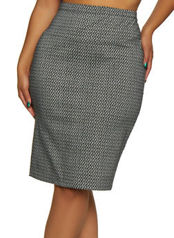 Plus Size Printed Pencil Skirt - BLACK/WHITE - 3962062708465