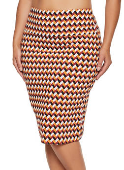 Plus Size Printed Pencil Skirt - RUST - 3962062708465