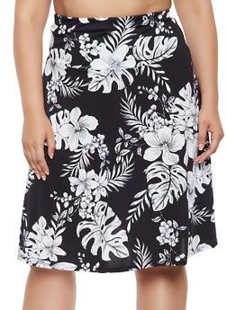 Plus Size Floral Skater Skirt | 3962062708821 - 3962062708821