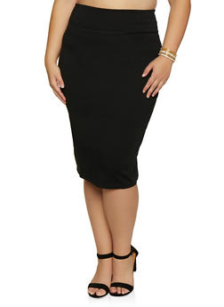 Plus Size Solid Ponte Pencil Skirt - 3962062709951