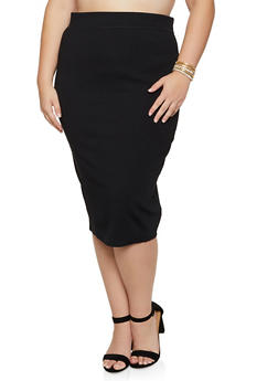 Plus Size Ponte Pencil Midi Skirt - 3962062709952
