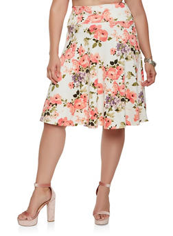 Plus Size Printed Skater Skirt - 3962070470331