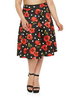 Plus Size Printed Skater Skirt - 3962070473649