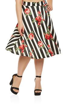 Plus Size Printed Skater Skirt - 3962070473649