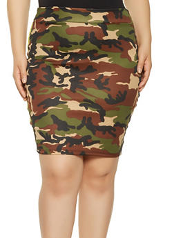 Plus Size Camo Pencil Skirt - 3962070474700