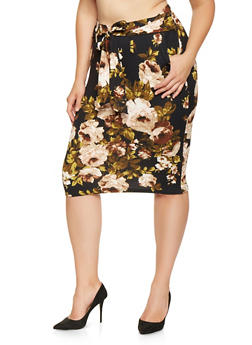 Plus Size Printed Tie Front Pencil Skirt - 3962074011543