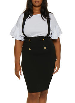 Plus Size Suspender Sailor Skirt - 3962074011635
