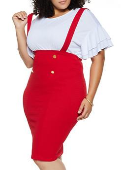 Plus Size Suspender Sailor Skirt - 3962074011635