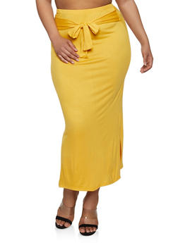 Plus Size Soft Knit Tie Front Pencil Skirt - 3962074011640