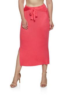 Plus Size Soft Knit Tie Front Pencil Skirt - 3962074011640