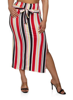 Plus Size Striped Tie Front Pencil Skirt - 3962074011642
