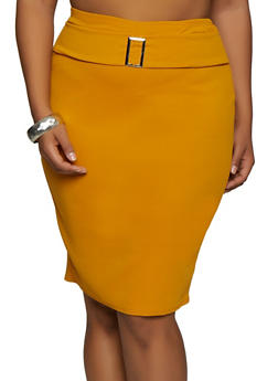 Plus Size Buckle Detail Textured Knit Skirt - 3962074011659