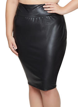 Plus Size Faux Leather Midi Pencil Skirt - 3962074011661