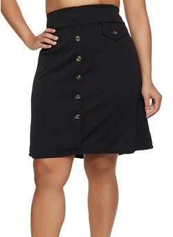 Plus Size Button Crepe Knit Skirt - 3962074011665