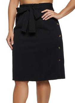 Plus Size Crepe Knit Button Pencil Skirt - 3962074011666