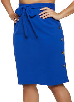 Plus Size Crepe Knit Button Pencil Skirt - 3962074011666