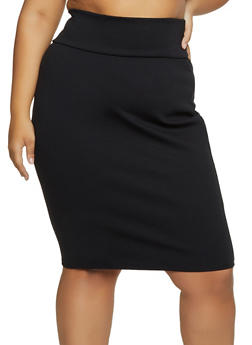 Plus Size Ponte Pencil Skirt - 3962074011673