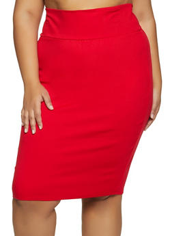 Plus Size Ponte Pencil Skirt - 3962074011673