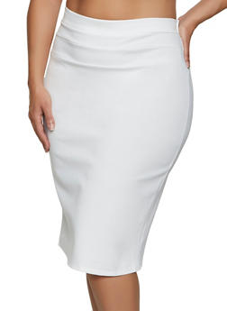 Plus Size Ponte Midi Pencil Skirt - 3962074011674