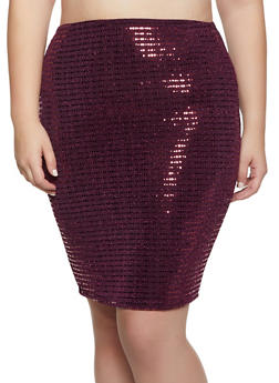 Plus Size Lurex Pencil Skirt - 3962074011675