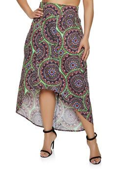 Plus Size Geometric High Low Skirt - 3962074016001