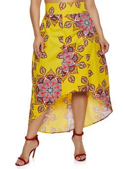 Plus Size Geometric Print High Low Skirt - 3962074016002