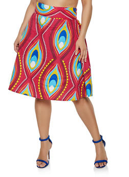 Plus Size Abstract Print Skater Skirt - 3962074016003
