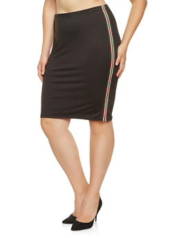 Plus Size Striped Tape Detail Pencil Skirt - 3962074016157