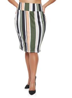 Plus Size Vertical Stripe Pencil Skirt - 3962074016162