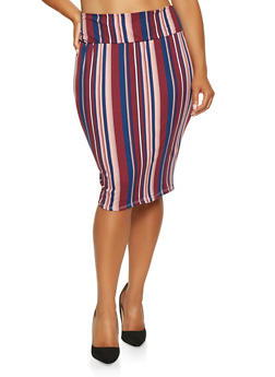 Plus Size Vertical Stripe Pencil Skirt - 3962074016167