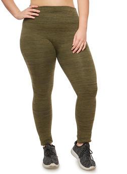 Plus Size Fleece Lined Waffle Knit Leggings - 3969001440002
