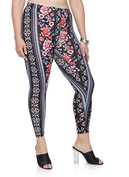 Plus Size Floral Soft Knit Leggings - 3969001440029