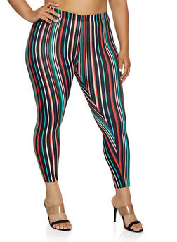 Plus Size Striped Soft Knit Leggings | 3969001440034 - 3969001440034