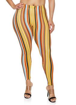 Plus Size Striped Soft Knit Leggings | 3969001440034 - 3969001440034