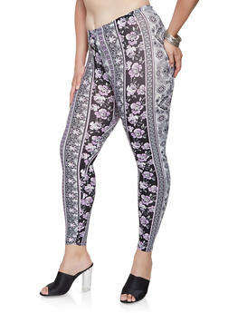 Plus Size Floral Soft Knit Leggings - 3969001440049