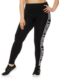 Plus Size Sport Graphic Leggings - 3969001440268
