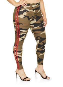 Plus Size Camo Varsity Stripe Leggings - 3969001440316