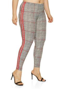 Plus Size Plaid Varsity Stripe Leggings - 3969001440317